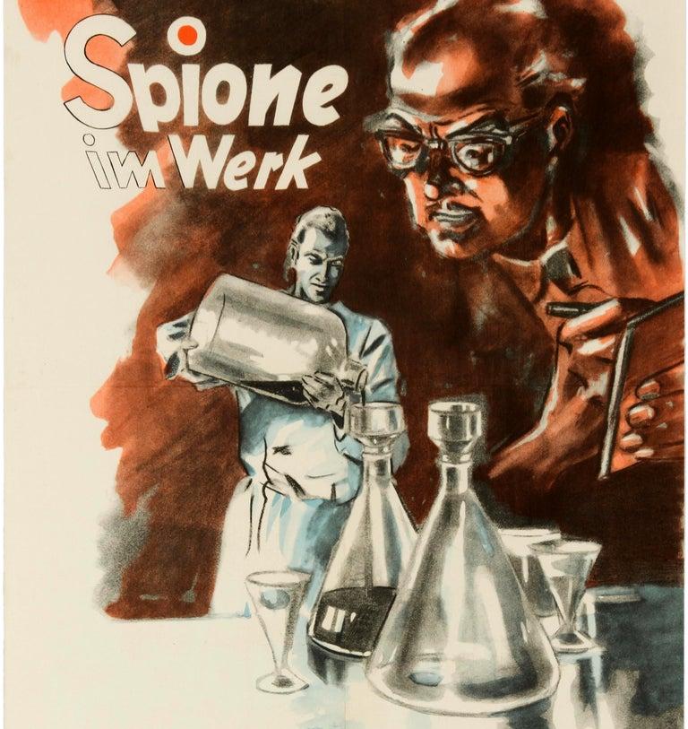 Original Vintage Poster Spies At Work Spione Im Werk German Cold War Propaganda - Beige Print by Unknown