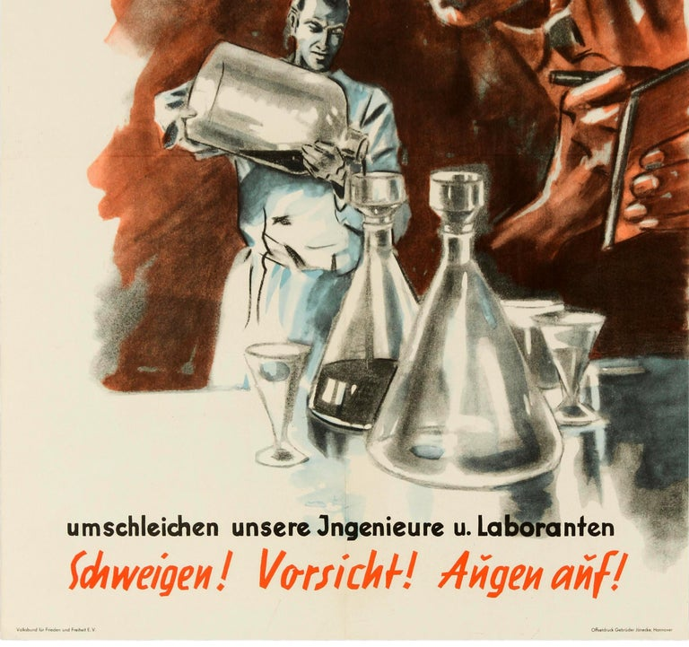 Original vintage German propaganda poster issued by the VFF Volksbund fur Frieden und Freiheit / People's Commission for Peace and Freedom featuring a communist spy looking over a science laboratory worker from the background, making notes as the