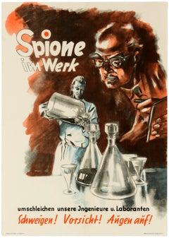 Original Vintage Poster Spies At Work Spione Im Werk German Cold War Propaganda