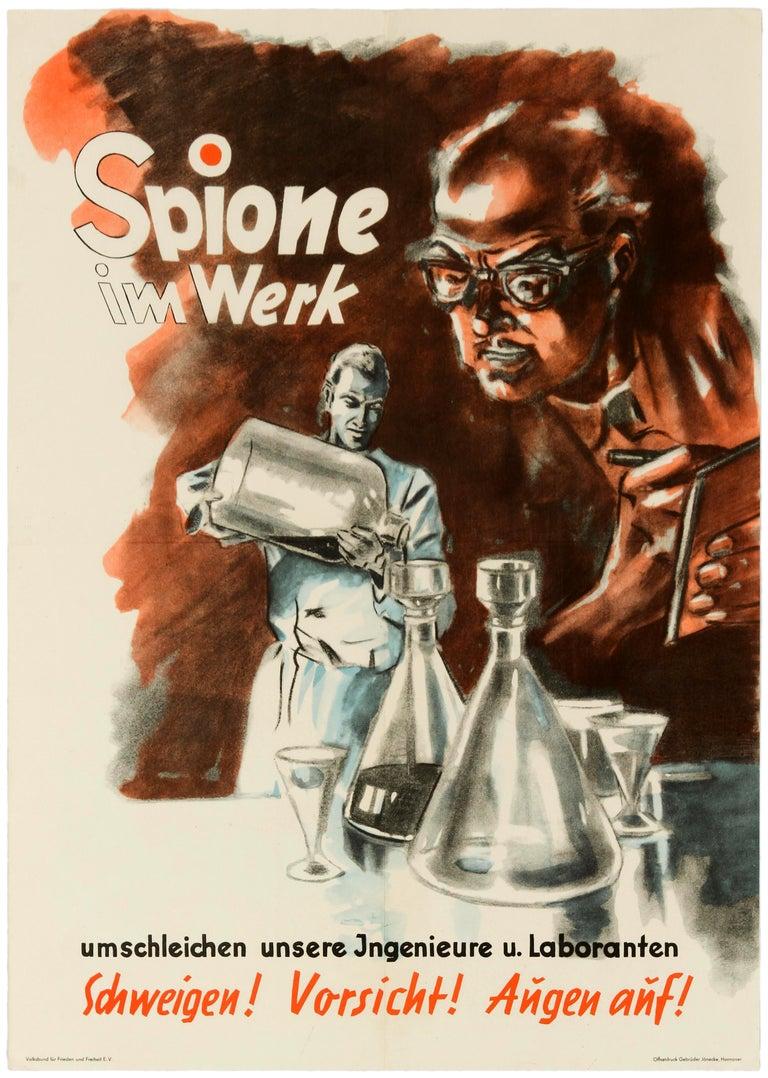 Unknown Print - Original Vintage Poster Spies At Work Spione Im Werk German Cold War Propaganda