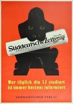 Original Vintage Poster Suddeutsche Zeitung Newspaper Germany Poodle Dog Design