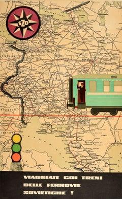 Original Vintage Poster SZD Travel On Soviet Railways Trains USSR Map Design