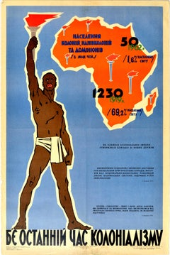 Original Vintage Poster The Last Hour Of Colonialism Africa Independence USSR