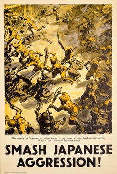 Original Vintage Poster The Storming Of Shwegyin By Indian Troops WWII Battle