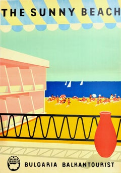 Original Vintage Poster The Sunny Beach Bulgaria Travel Sailing Black Sea Resort