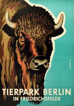Original Vintage Poster Tierpark Berlin Zoo Friedrichsfelde Germany Bison Design