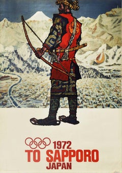 Original Vintage Poster To Sapporo Japan 1972 Winter Olympic Games Warrior Art