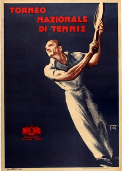 Original Vintage Poster Torneo Nazionale Di Tennis Tournament Italy Sport Event