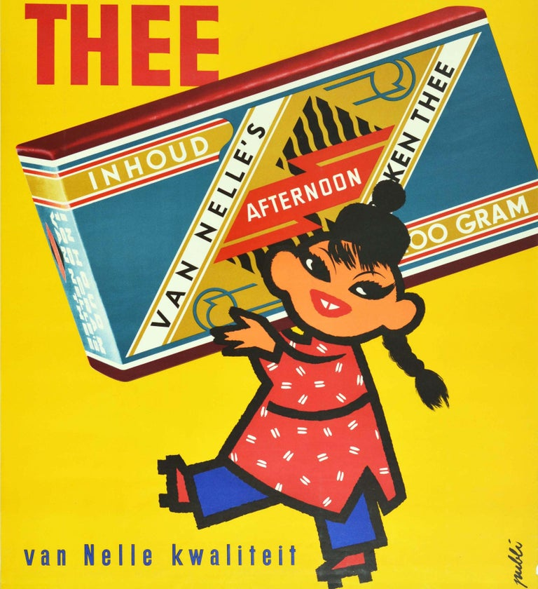Original vintage drink advertising poster for Van Nelle's Thee Van Nelle Kwaliteit / Van Nelle's Tea Van Nelle Quality featuring a bright and colourful illustration of a smiling Asian lady wearing a Mandarin style hat on top of her her long hair in