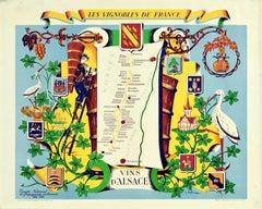 Original Vintage Poster Vignobles De France Vineyards Vins D'Alsace Wine Map Art
