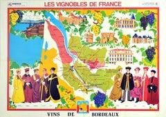 Original Vintage Poster Vineyards Of Bordeaux Wine Map Les Vignobles De France