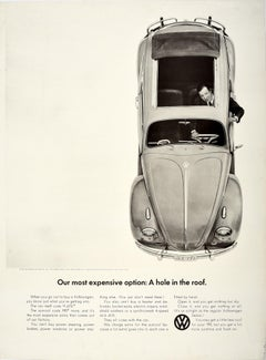 Original Vintage Poster Volkswagen Car Showroom Ad VW Beetle Hole In The Roof