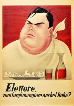 Original Vintage Poster Voter Do You Want To Feed Him Italy Elections Malenkov
