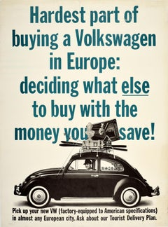 Original Vintage Poster VW Beetle Car Showroom Ad Buying A Volkswagen In Europe