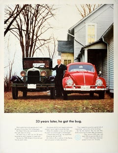 Original Vintage Poster VW Bug Ford Model A Volkswagen Beetle Car Showroom Ad