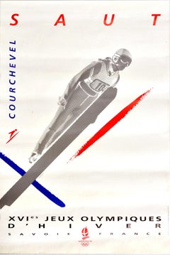 Original Vintage Poster Winter Olympics Albertville 92 Courchevel Ski Jump Saut