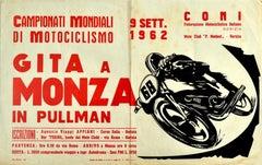 Original Vintage Poster World Motorcycling Championships Monza 1962 Sport Event