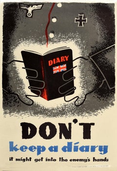 Original Vintage Poster World War Two Propaganda Don't Keep A Diary Enemy Hands