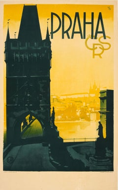 Original Vintage Prague Travel Poster Praha Czechoslovakia Old Town Bridge View