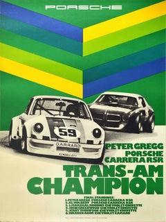 Original Vintage Racing Poster Peter Gregg Porsche Carrera RSR Trans-Am Champion