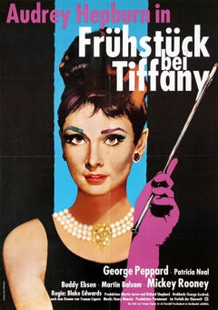 Original Vintage ReRelease Film Poster For Breakfast At Tiffany's Audrey Hepburn