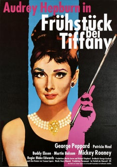 Original Vintage Rerelease Movie Poster Audrey Hepburn In Breakfast At Tiffany's