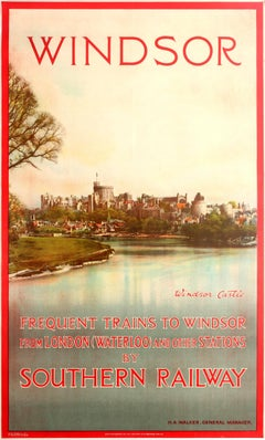 Original Vintage Southern Railway Travel Poster Featuring Windsor Castle England