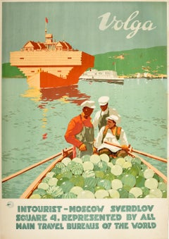 Original Vintage Soviet Intourist Travel Poster Volga River Ft. Watermelon Boat