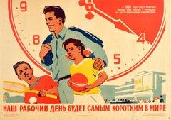 Original Vintage Soviet Poster Six Hour Working Day Week USSR Sport Culture Time