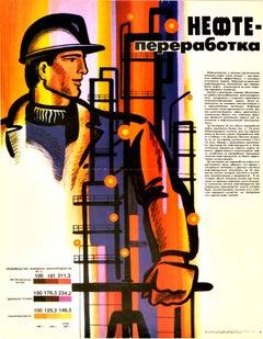 Original Vintage Soviet Propaganda Poster Oil Refinery Industrial Plant Worker