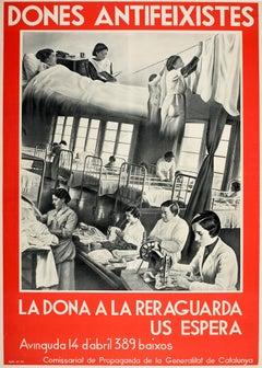Original Vintage Spanish Civil War Poster Dones Antifeixistes Antifascist Women