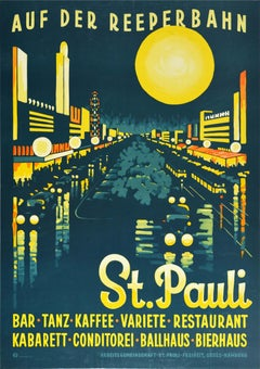 Original Vintage Travel Poster Auf Der Reeperbahn St Pauli Hamburg City Night