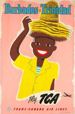 Original Vintage Travel Poster Barbados Trinidad Fly TCA Trans Canadian Airlines