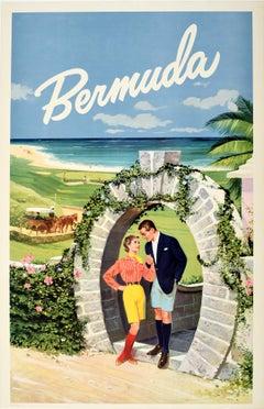 Original Vintage Travel Poster Bermuda Moongate Arch Golf Beach Horse Carriage