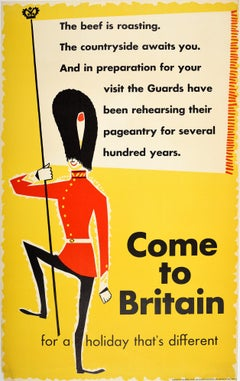 Original Vintage Travel Poster Come To Britain Ft. Midcentury Royal Guard Design
