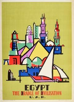 Original Vintage Travel Poster Egypt The Cradle Of Civilisation Modernist Design