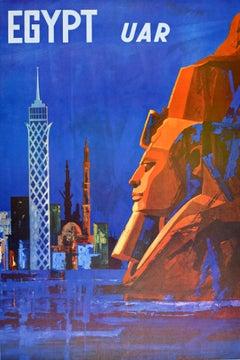 Original Vintage Travel Poster Egypt UAR United Arab Republic City Towers Sphinx