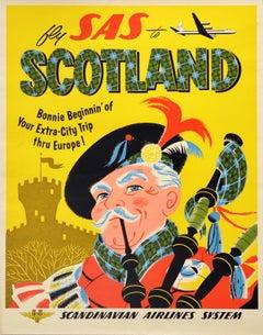 Original Vintage Travel Poster Fly SAS To Scotland Bonnie Beginnin' Thru Europe
