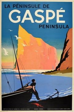 Original Vintage Travel Poster For The Gaspe Peninsula In Canada Quebec Province