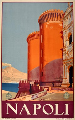 Original Vintage Travel Poster Napoli Bay Of Naples Mount Vesuvius Castel Nuovo