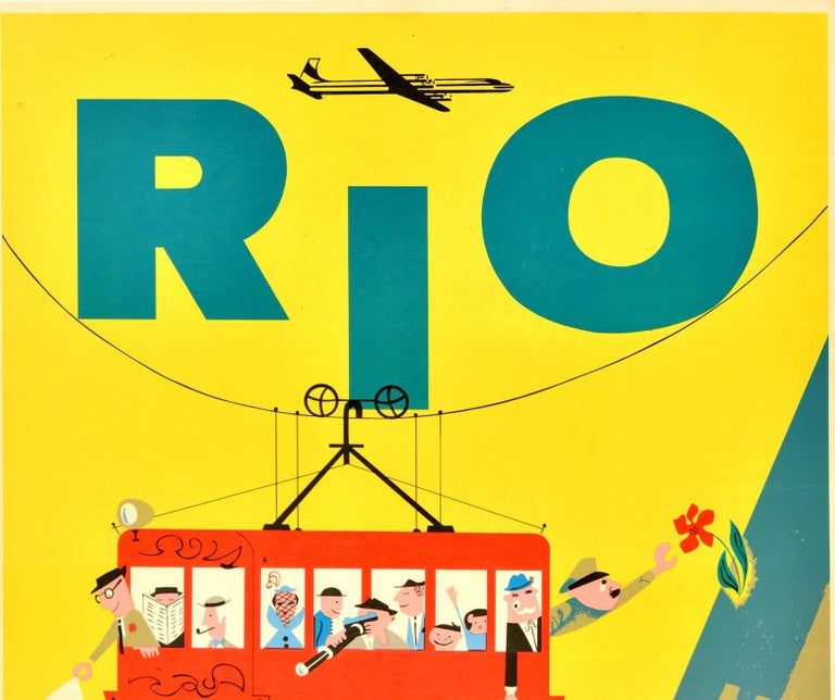 Original Vintage Travel Poster Rio Brazil S. America Sugarloaf Cable Car Braniff - Print by Unknown