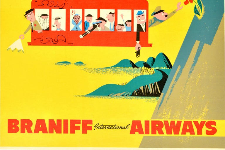 Original Vintage Travel Poster Rio Brazil S. America Sugarloaf Cable Car Braniff - Yellow Print by Unknown