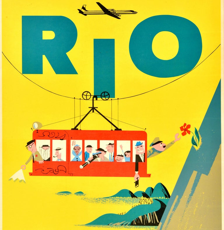 Original vintage travel poster for Rio de Janeiro issued by Braniff International Airways featuring a colourful cartoon illustration of tourists on a red cable car with people enjoying the view, a man smoking a pipe and another reading a newspaper,