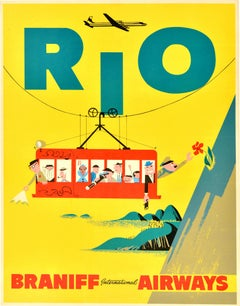 Original Vintage Travel Poster Rio Brazil S. America Sugarloaf Cable Car Braniff