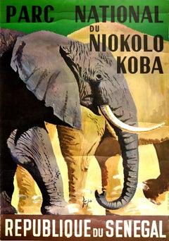 Original Vintage Travel Poster Senegal Parc National Du Niokolo Koba Elephant