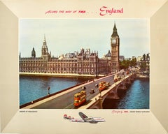 Original Vintage TWA Poster England Houses Of Parliament London Airline Travel
