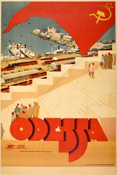 Original Vintage USSR Travel Intourist Poster Odessa Black Sea Potemkin Steps