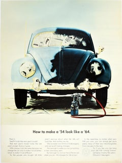 Original Vintage Volkswagen Poster How To Make A '54 Look Like A '64 Beetle Car