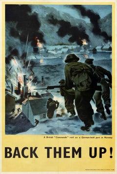 Original Vintage War Poster Back Them Up WWII British Commando Raid Norway Port