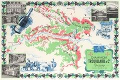 Original Vintage Wine Poster Champagne Trouillard & Co Epernay Illustrated Map